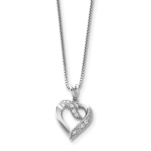 Sterling Silver Rhodium-plated CZ Heart Pendant on 16 Box Chain Necklace QG1046 - shirin-diamonds