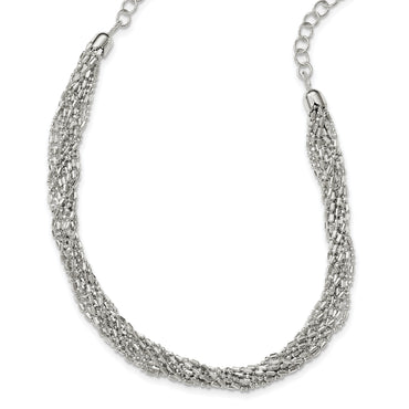 Sterling Silver Twisted Multi-Strand Necklace QG3871 - shirin-diamonds