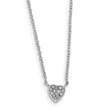 Sterling Silver Polished Heart with CZ Necklace QG3908 - shirin-diamonds