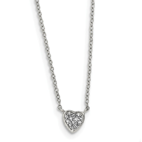 Sterling Silver Polished Heart with CZ Necklace QG3908-16