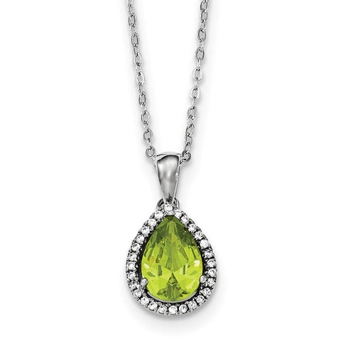 Sterling Silver Rhodium Polished Simulated Peridot & CZ Necklace QG4069AUG - shirin-diamonds