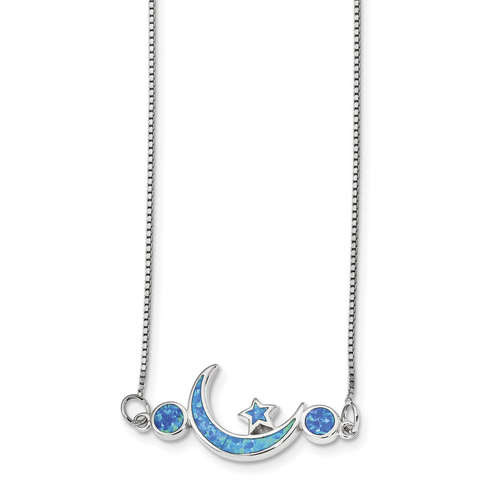 Sterling Silver Rhodium-plated Imitation Opal Moon & Star Necklace QG4328 - shirin-diamonds