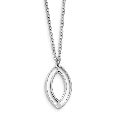 Sterling Silver Rhodium-plated Polished Oval Dangle Necklace QG4535 - shirin-diamonds