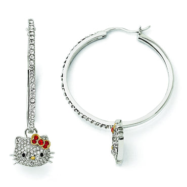 Sterling Silver Hello Kitty Crystal Red Bow Collection Hoop Earrings QHK108 - shirin-diamonds