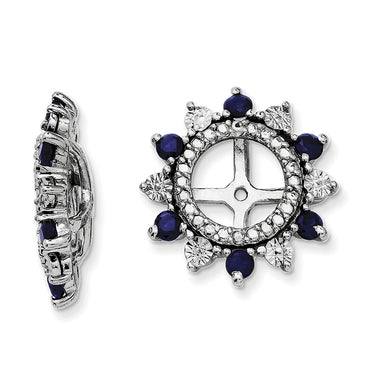 Sterling Silver Rhodium Created Sapphire Earring Jacket QJ105SEP - shirin-diamonds