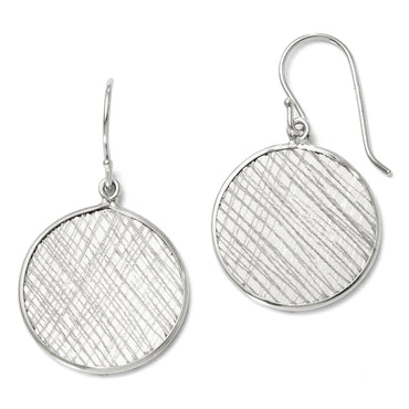 Leslie's Sterling Silver Polished & Textured Dangle Earrings QLE310 - shirin-diamonds
