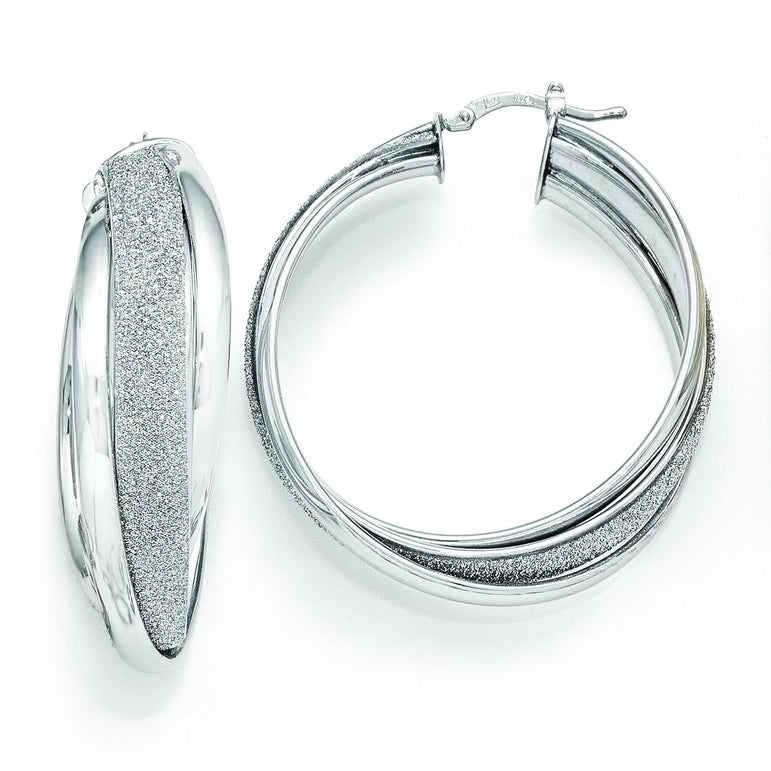 925 Sterling Silver Rhodium-plated Diamond-cut Round Hoop Earrings 3mm x 36mm