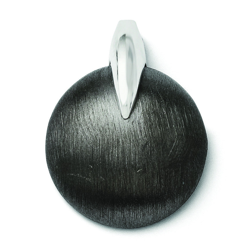 Leslies Sterling Silver and Ruthenium Polished and Brushed Pendant QLF175 - shirin-diamonds