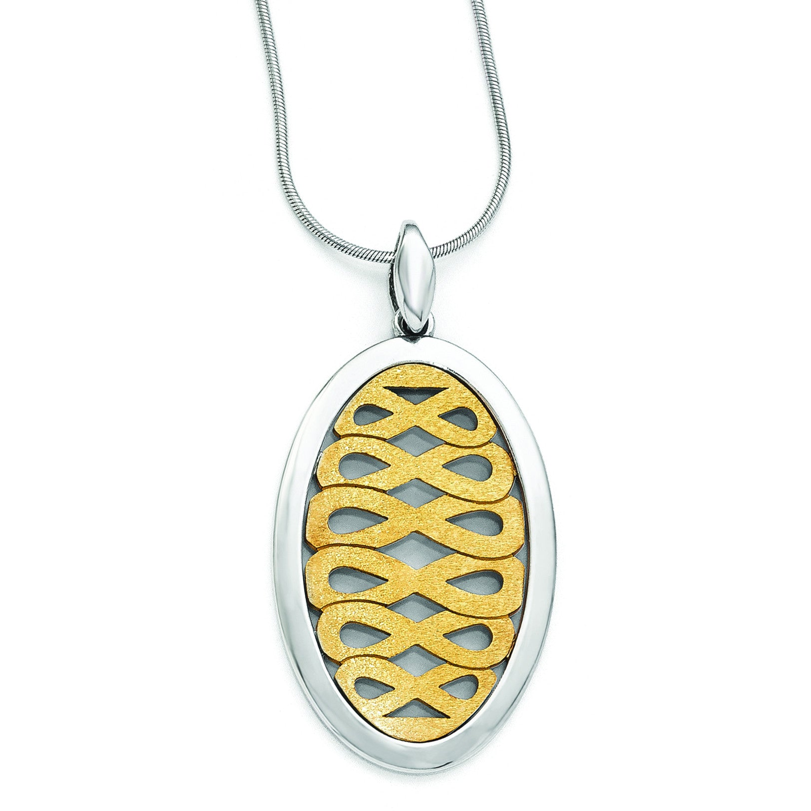 Leslie's Sterling Silver Gold-tone Flash 24k Plated Pendant QLF431 - shirin-diamonds