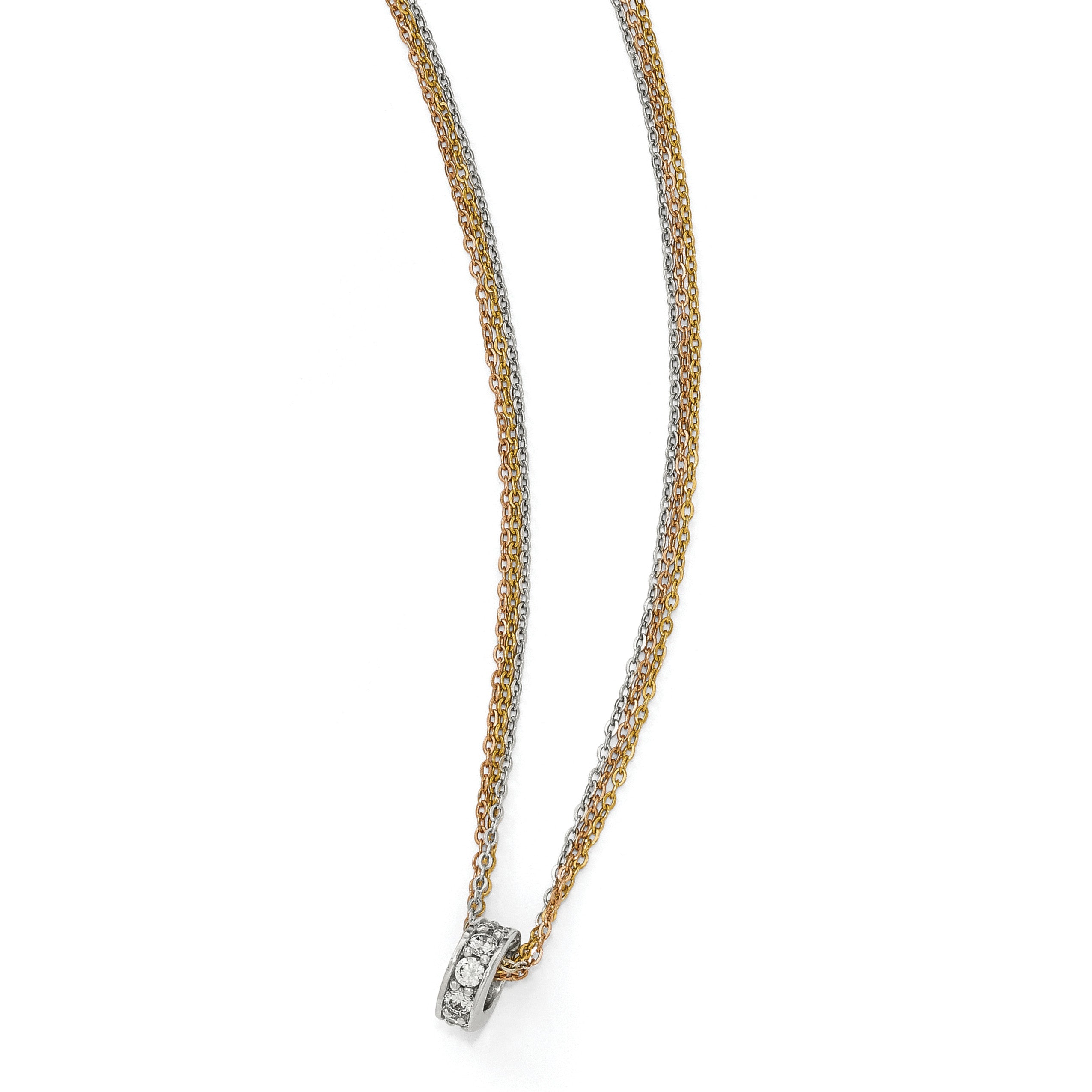 Leslie's Sterling Silver Rose & Yellow-tone CZ 3-Strand Necklace QLF575 - shirin-diamonds