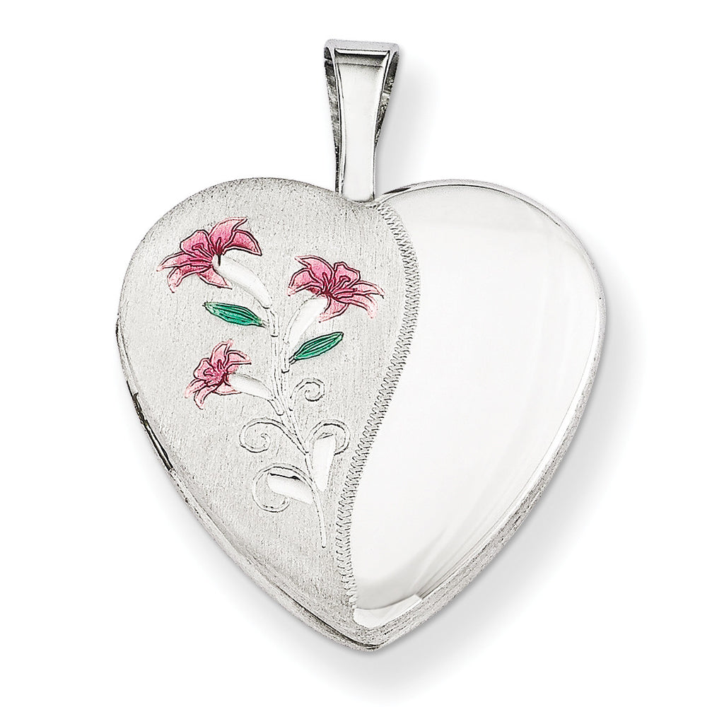 Sterling Silver Rhodium-plated 16mm Enameled Lily Heart Locket QLS255 - shirin-diamonds