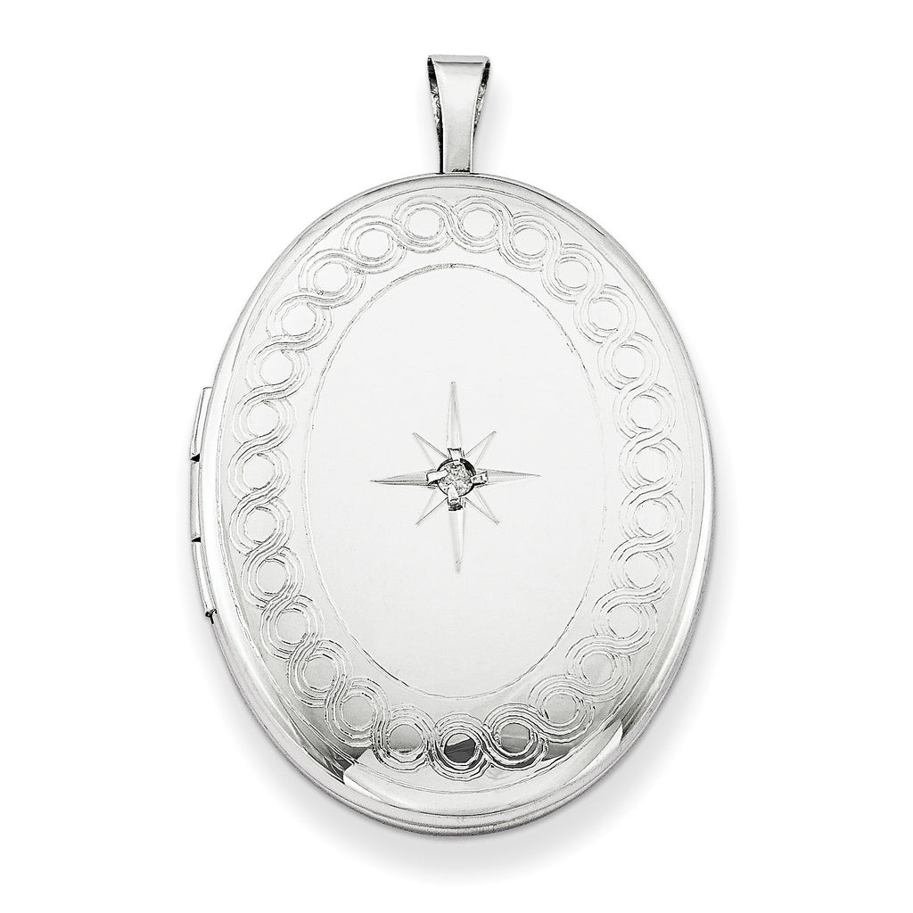 Sterling Silver Rhodium-plated 26mm Oval Diamond Locket QLS263 - shirin-diamonds