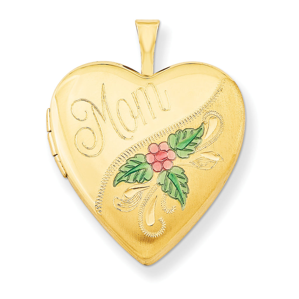 1/20 Gold Filled 20mm Enameled Mom Heart Locket QLS286 - shirin-diamonds