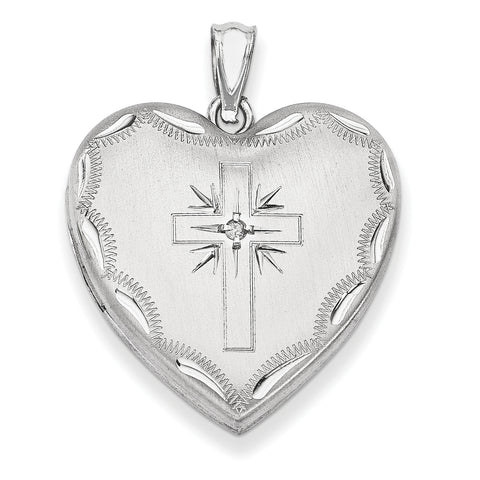 Sterling Silver Rhodium-plated 24mm w/ Dia. Cross Design Family Heart Locke QLS306 - shirin-diamonds