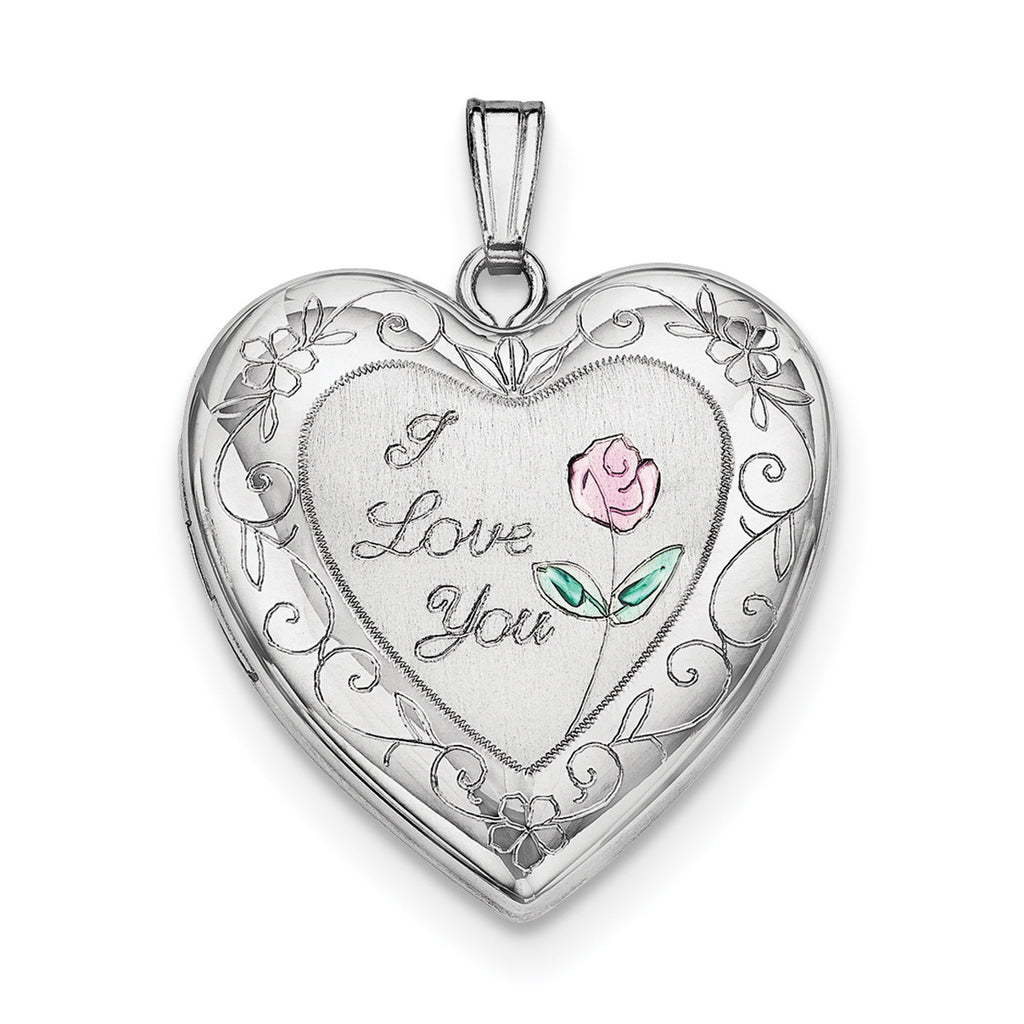 Sterling Silver Rhodium-plated 24mm Enameled Rose with Border Heart Locket QLS309 - shirin-diamonds