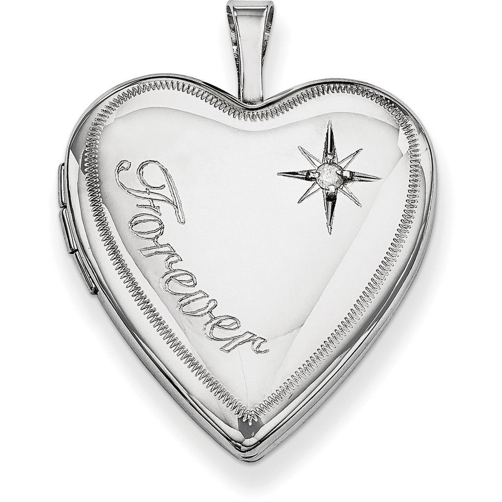 Sterling Silver Rhodium-plated 20mm Forever with Diamond Star Heart Locket QLS322 - shirin-diamonds