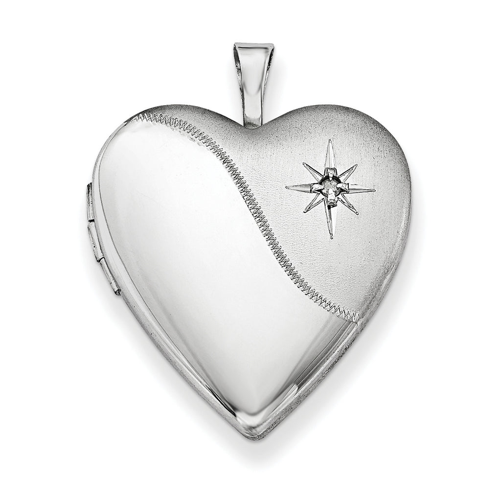 Sterling Silver Rhodium-plated 20mm with Dia. Star Satin/Polished Heart Loc QLS339 - shirin-diamonds