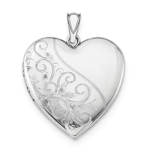 Sterling Silver Rhodium-plated 24mm Scrolled Heart Family Locket QLS402 - shirin-diamonds