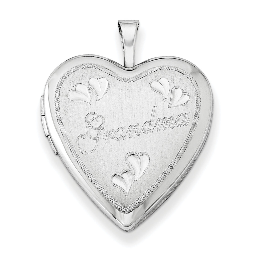 Sterling Silver Rhodium-plated 20mm D/C Grandma Heart Locket QLS411 - shirin-diamonds