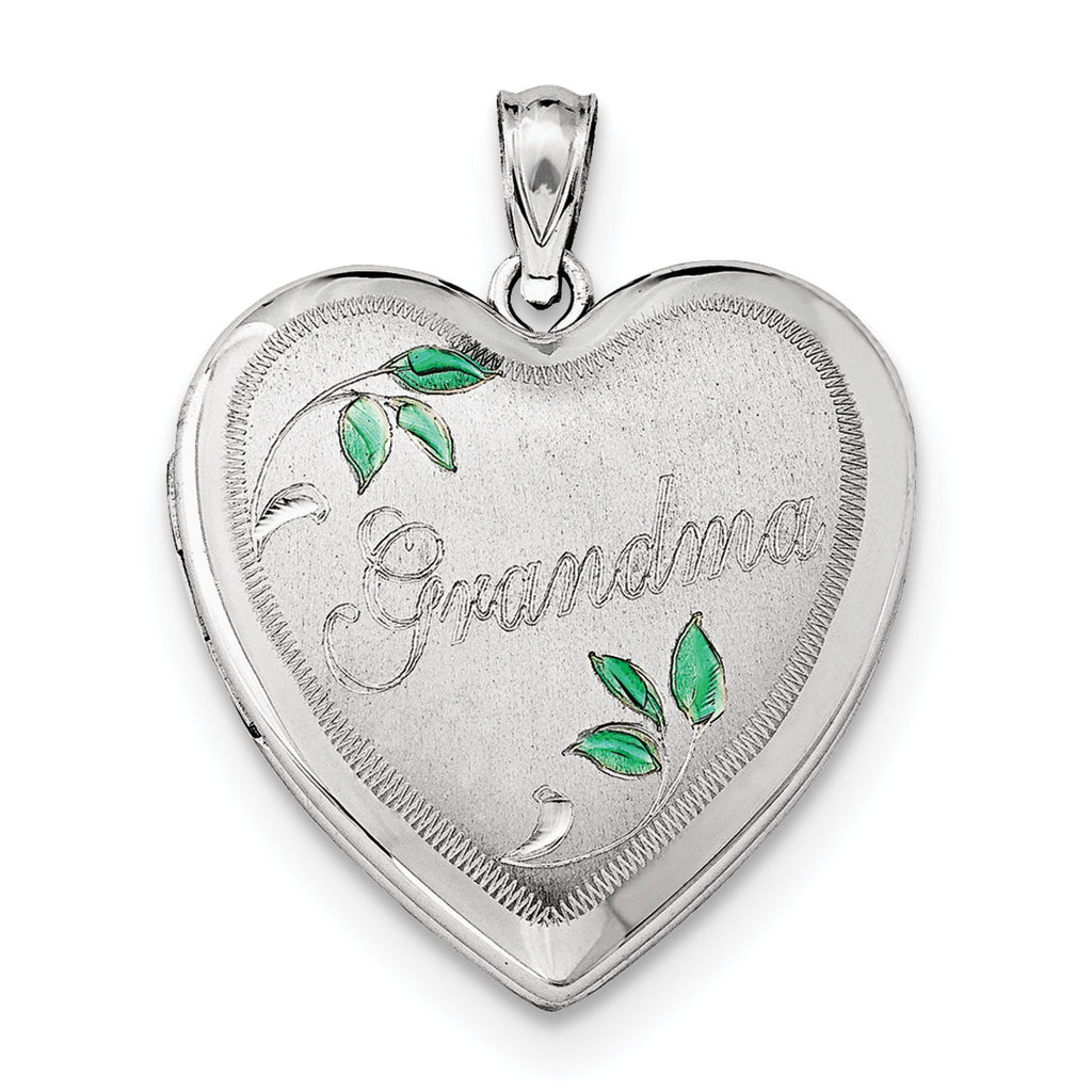 Sterling Silver Rhodium-plated 24mm Grandma Heart Locket QLS412 - shirin-diamonds