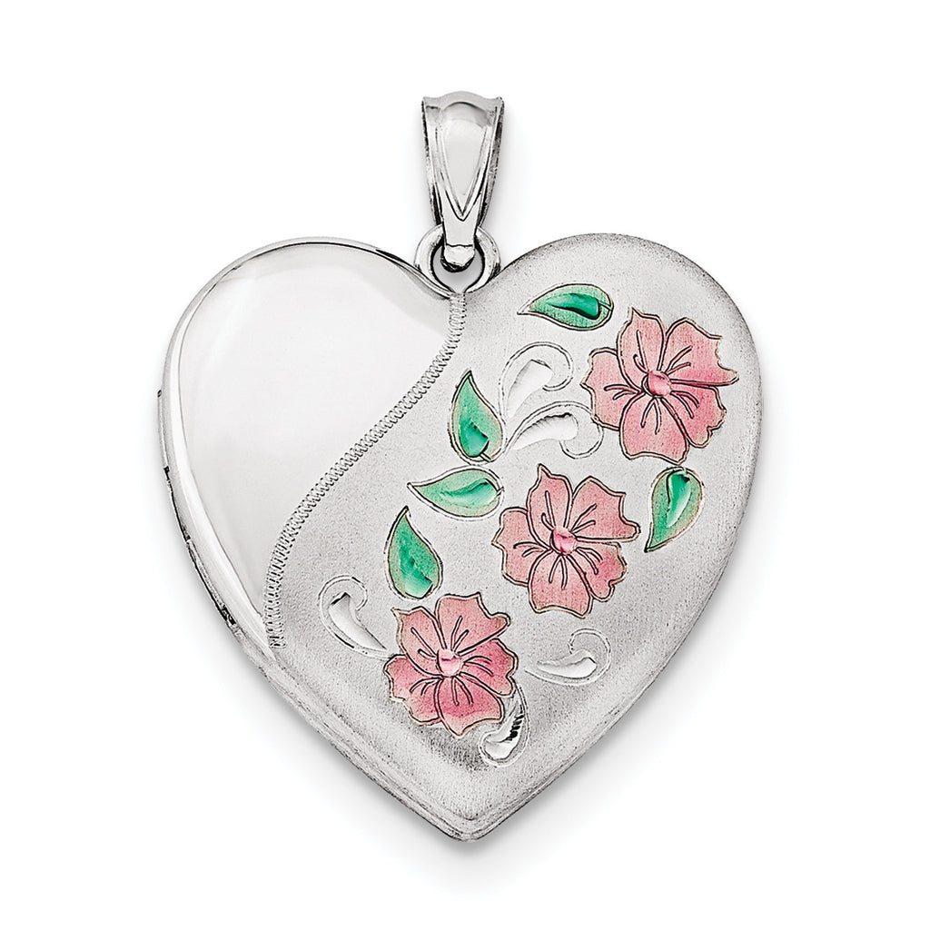 Sterling Silver Rhodium-plated 24mm Enameled, D/C Floral Heart Locket QLS416 - shirin-diamonds