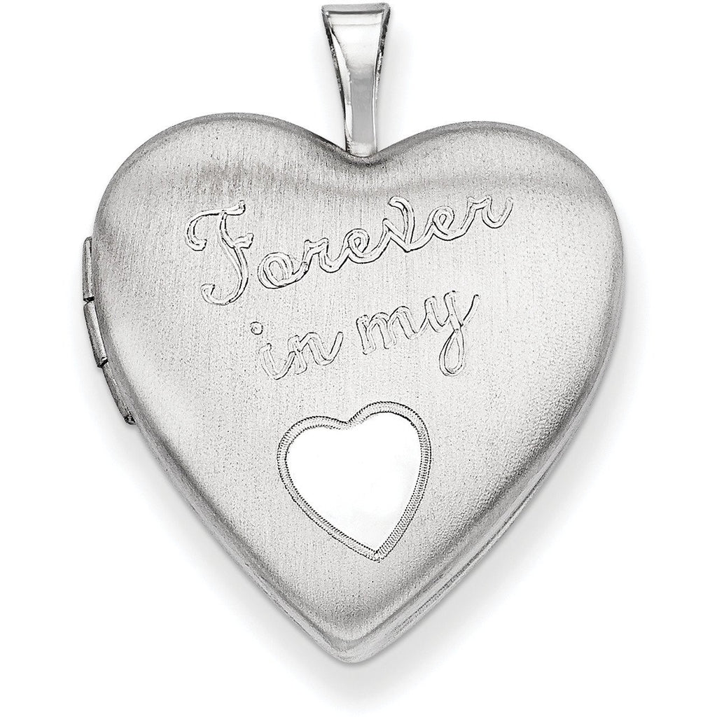 Sterling Silver Rhodium-plated 20mm Forever in my Heart Locket QLS421 - shirin-diamonds