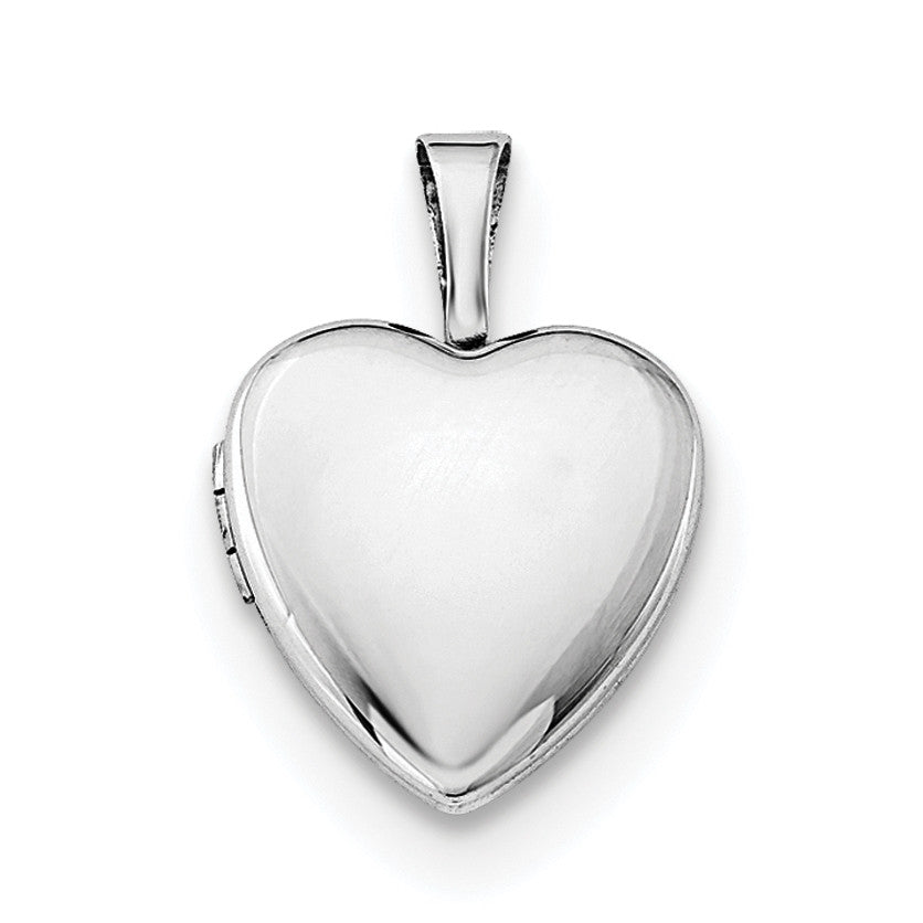 Sterling Silver Rhodium-plated Polished 12mm Heart Locket QLS484 - shirin-diamonds