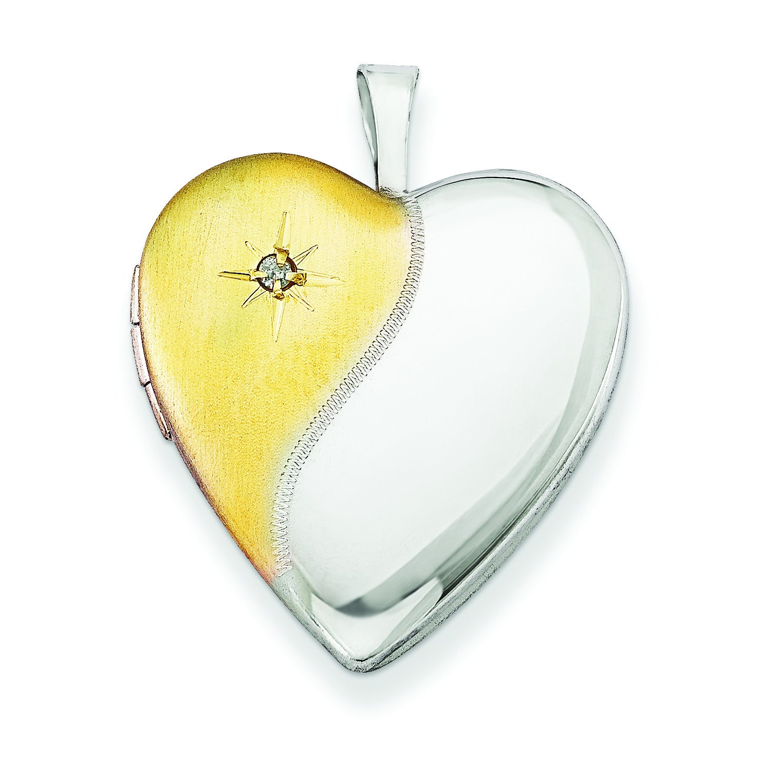 Sterling Silver Diamond Gold-plated Polished & Satin 20mm Heart Locket QLS494 - shirin-diamonds