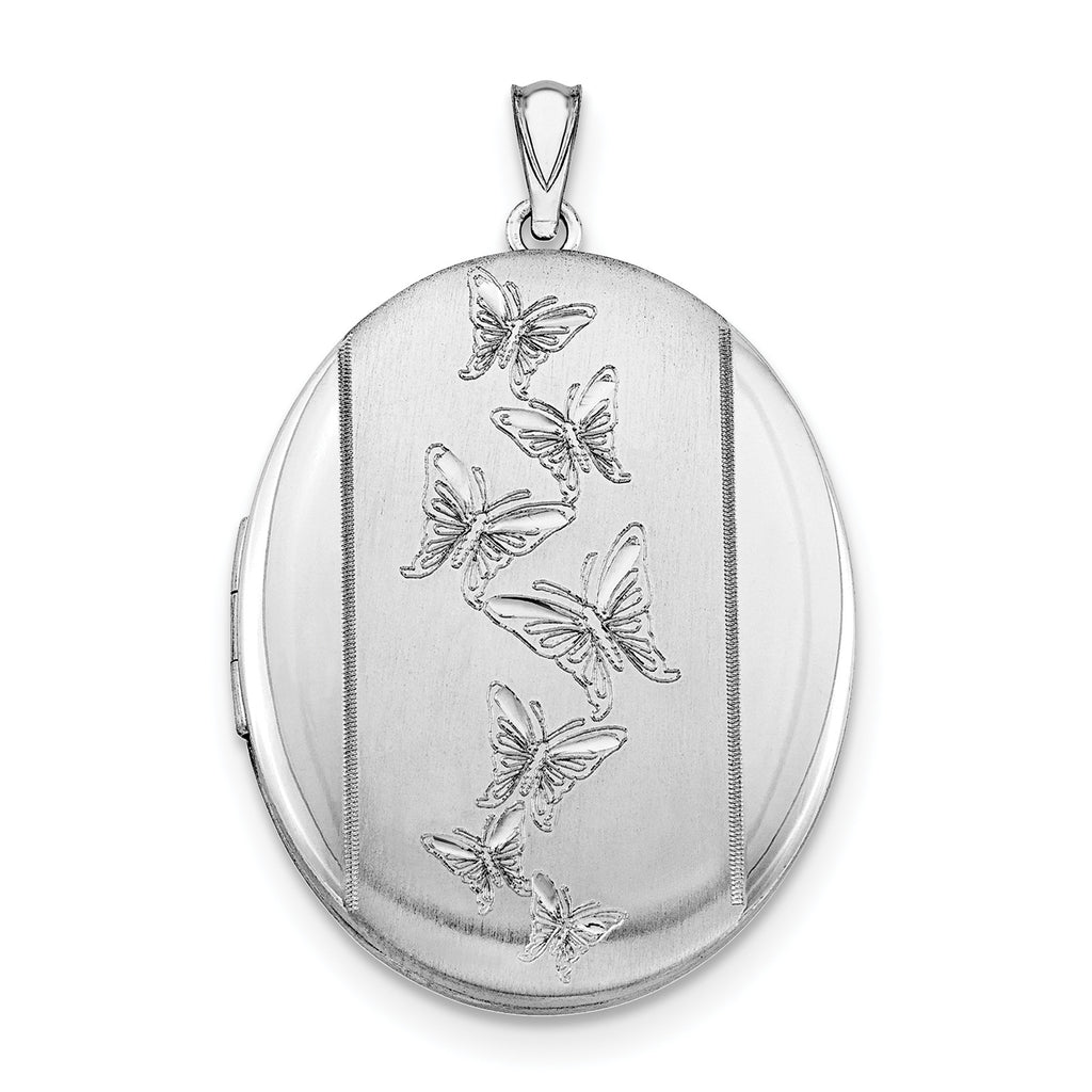 Sterling Silver Rhodium-plated Butterflies 34mm Oval Locket QLS523 - shirin-diamonds