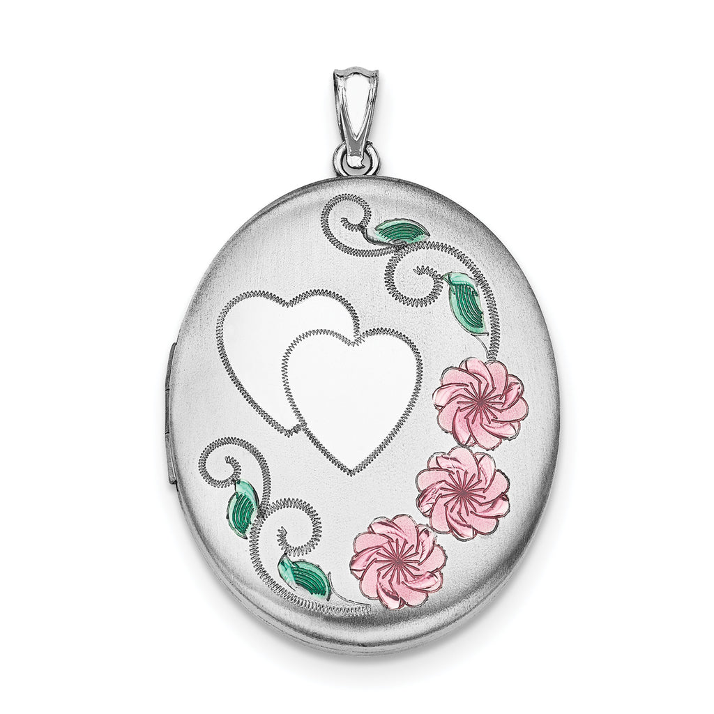 Sterling Silver Rhodium-plated Heart W/ Enamel Flowers 34mm Oval Locket QLS544 - shirin-diamonds
