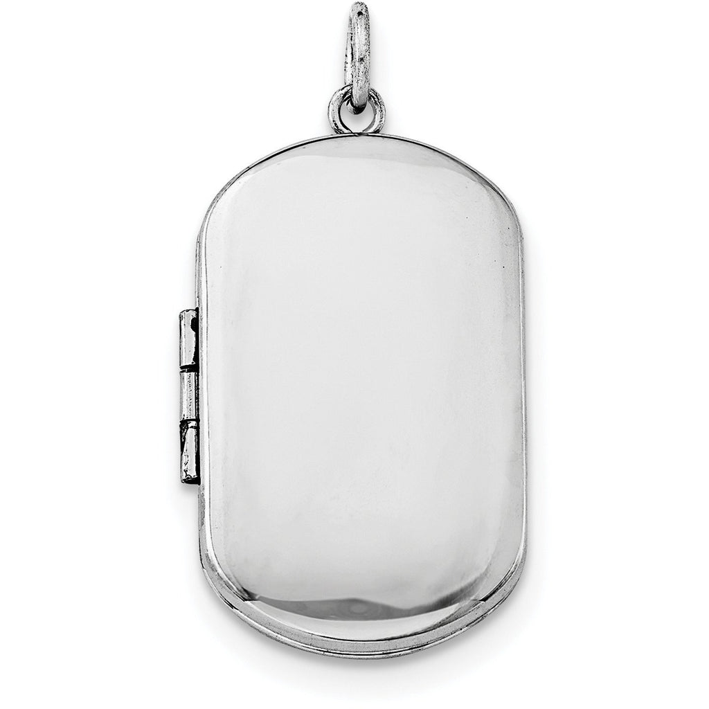 Sterling Silver Rhodium-plated Polished Rectangular Locket QLS573 - shirin-diamonds