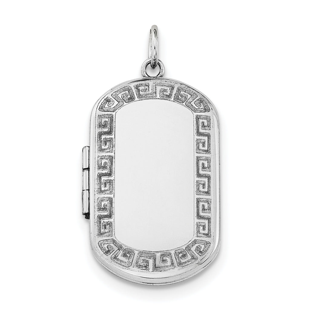 Sterling Silver Rhodium-plated Greek Key Border Rectangular Locket QLS575 - shirin-diamonds