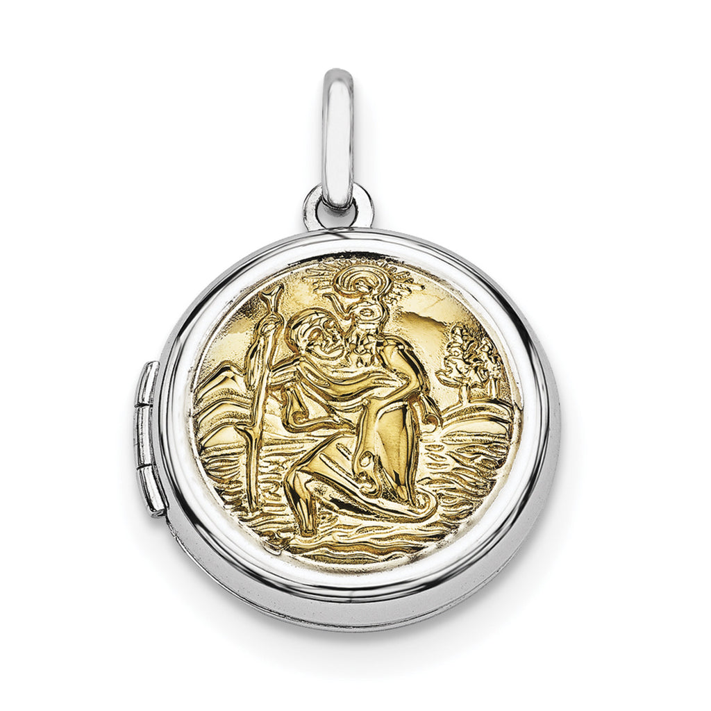 Sterling Silver Rhodium-plated w/Gold-plate Round St. Christopher's Locket QLS590 - shirin-diamonds