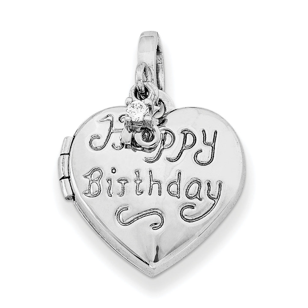 Sterling Silver Rhodium-plated Heart Happy 16th Birthday with CZ Locket QLS591 - shirin-diamonds