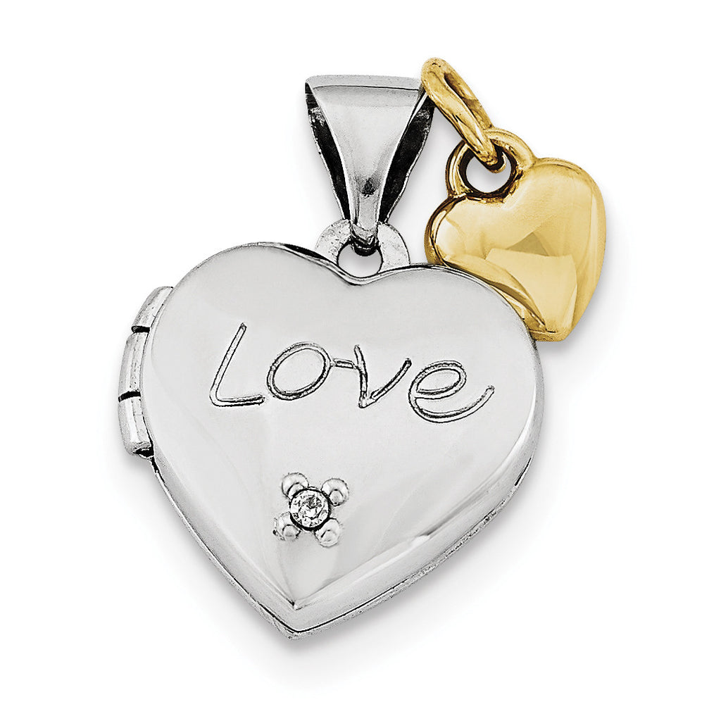 Sterling Silver Rhodium-plated w/Gold-plated Dia w/ Charm  Heart Locket QLS599 - shirin-diamonds