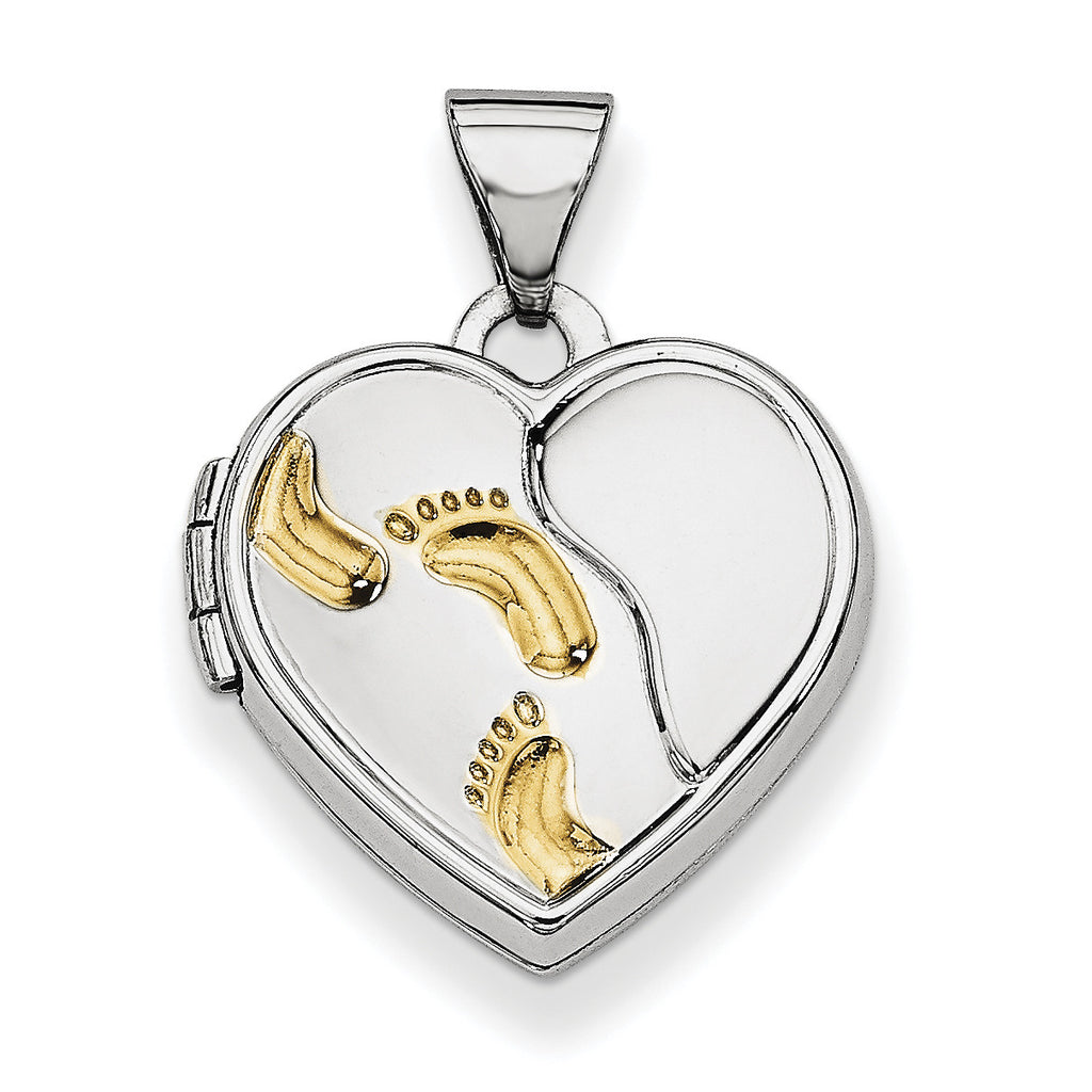 Sterling Silver Rhodium-plated w/Gold-plate 15m Heart Foot Prints Locket QLS609 - shirin-diamonds