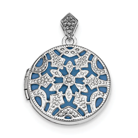 Sterling Silver Rhodium-plated 20mm Round w/Diamond Vintage Locket QLS611 - shirin-diamonds