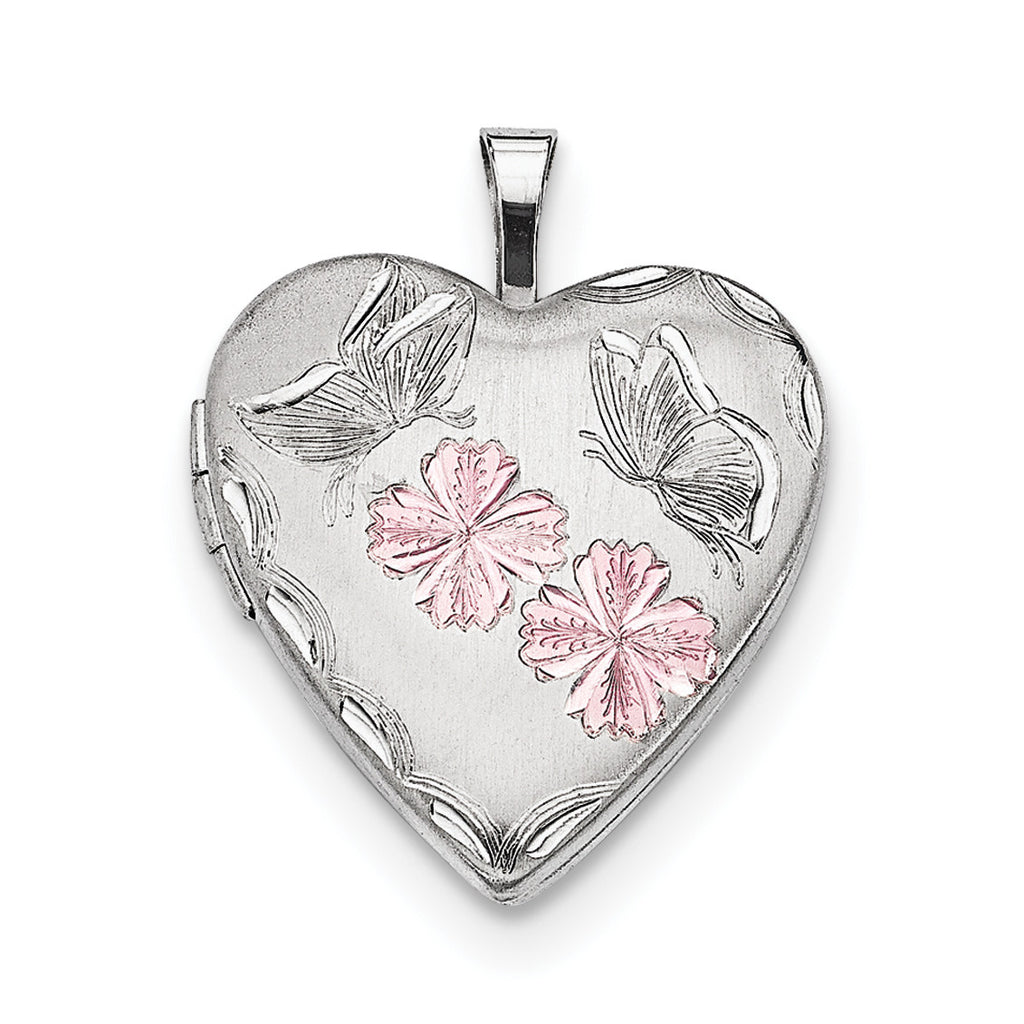 Sterling Silver Rhodium-plated Enameled Flowers Butterfly Heart Locket QLS641 - shirin-diamonds