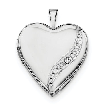 Sterling Silver Rhodium-plated Crystal Heart Locket QLS647 - shirin-diamonds