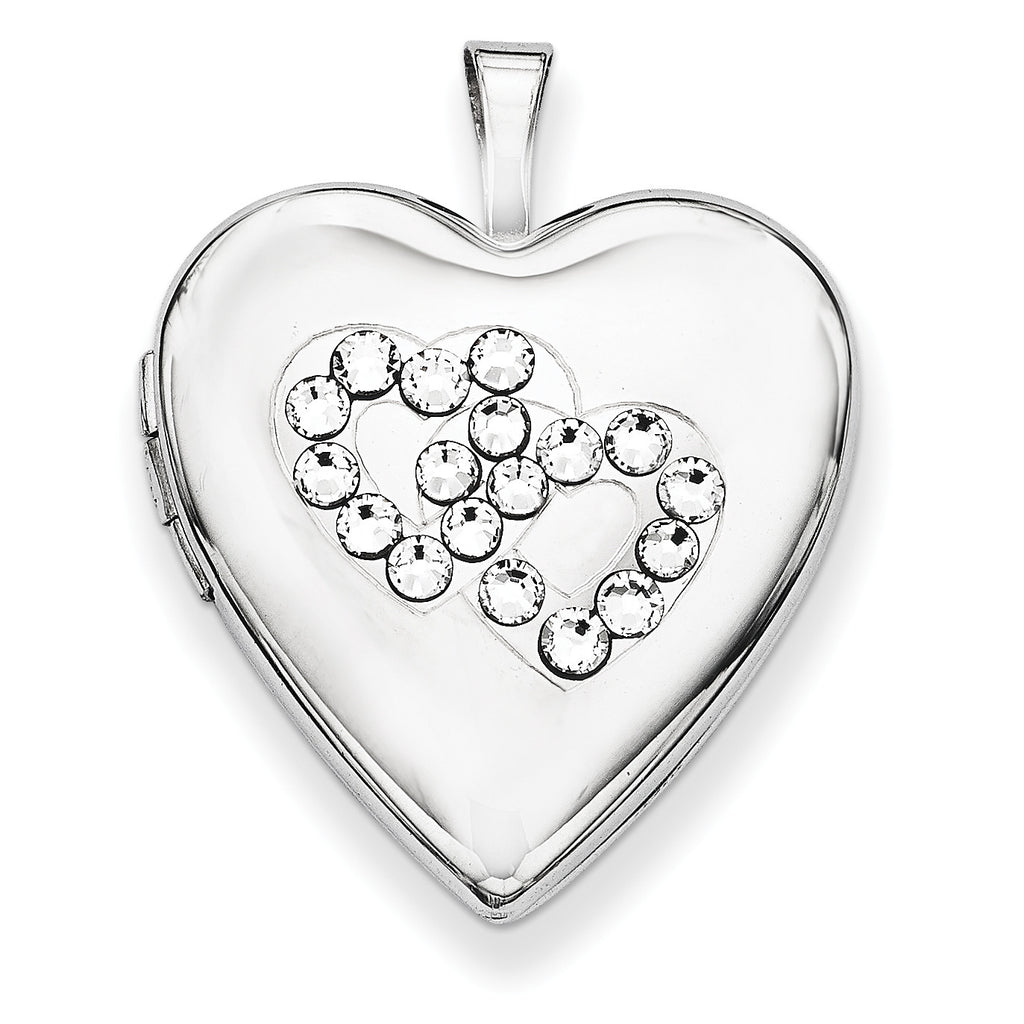 Sterling Silver Crystal Double Hearts Heart Locket QLS648 - shirin-diamonds