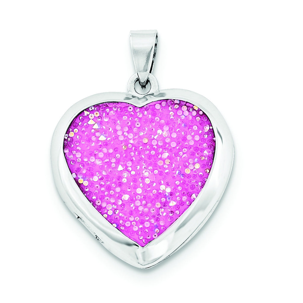 Sterling Silver Polished Crystal Pink Heart Locket QLS676 - shirin-diamonds