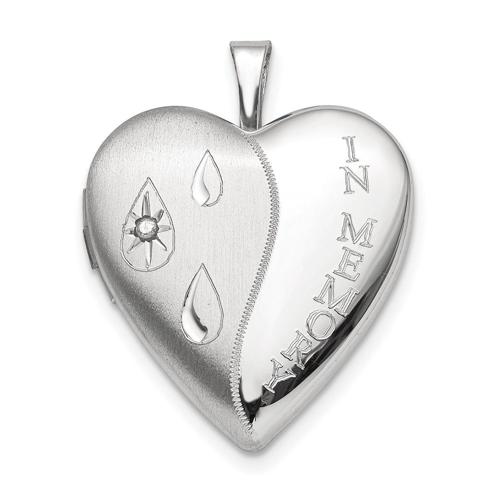 Sterling Silver Rhodium-plated Dia Satin/Polish In Memory Heart Locket QLS696 - shirin-diamonds