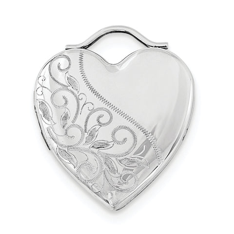 Sterling Silver Rhodium-plated 24mm Etched Heart Locket - shirin-diamonds
