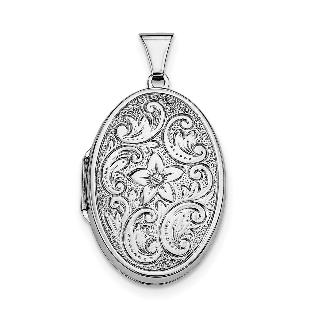 Sterling Silver Rhodium-plated Oval Locket QLS6 - shirin-diamonds