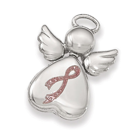 Sterling Silver Polished Enameled Angel Heart Chain Slide Locket