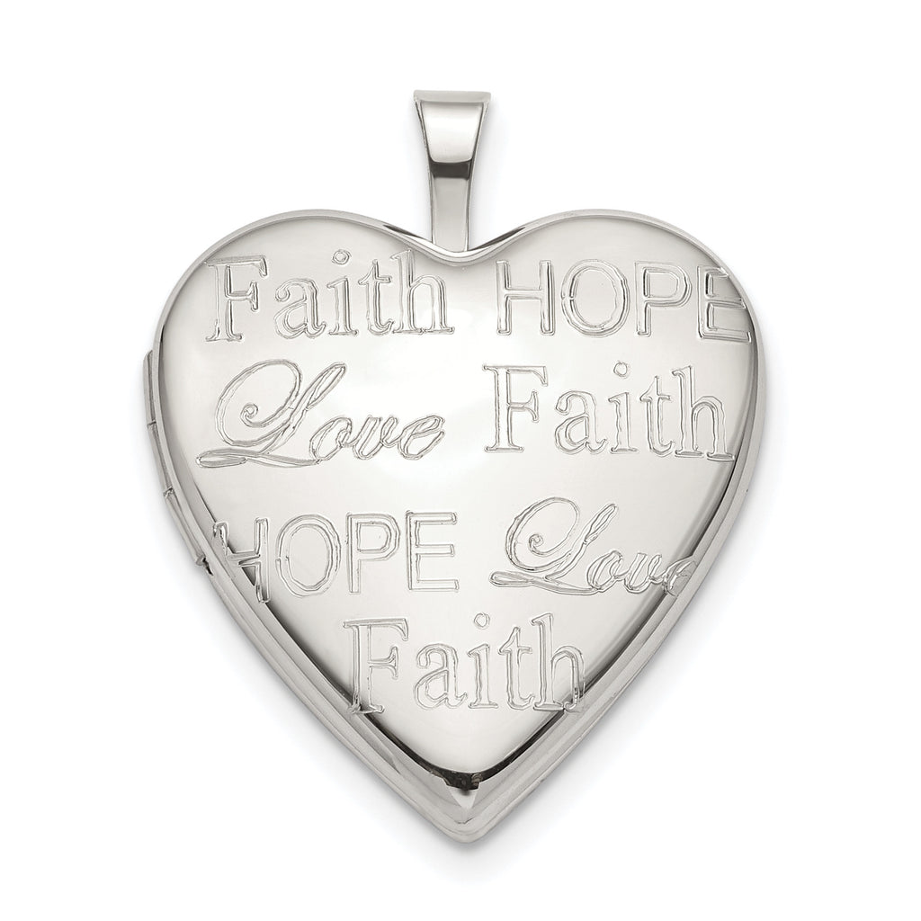Sterling Silver Love, Hope, Faith 20mm Heart Locket QLS788 - shirin-diamonds