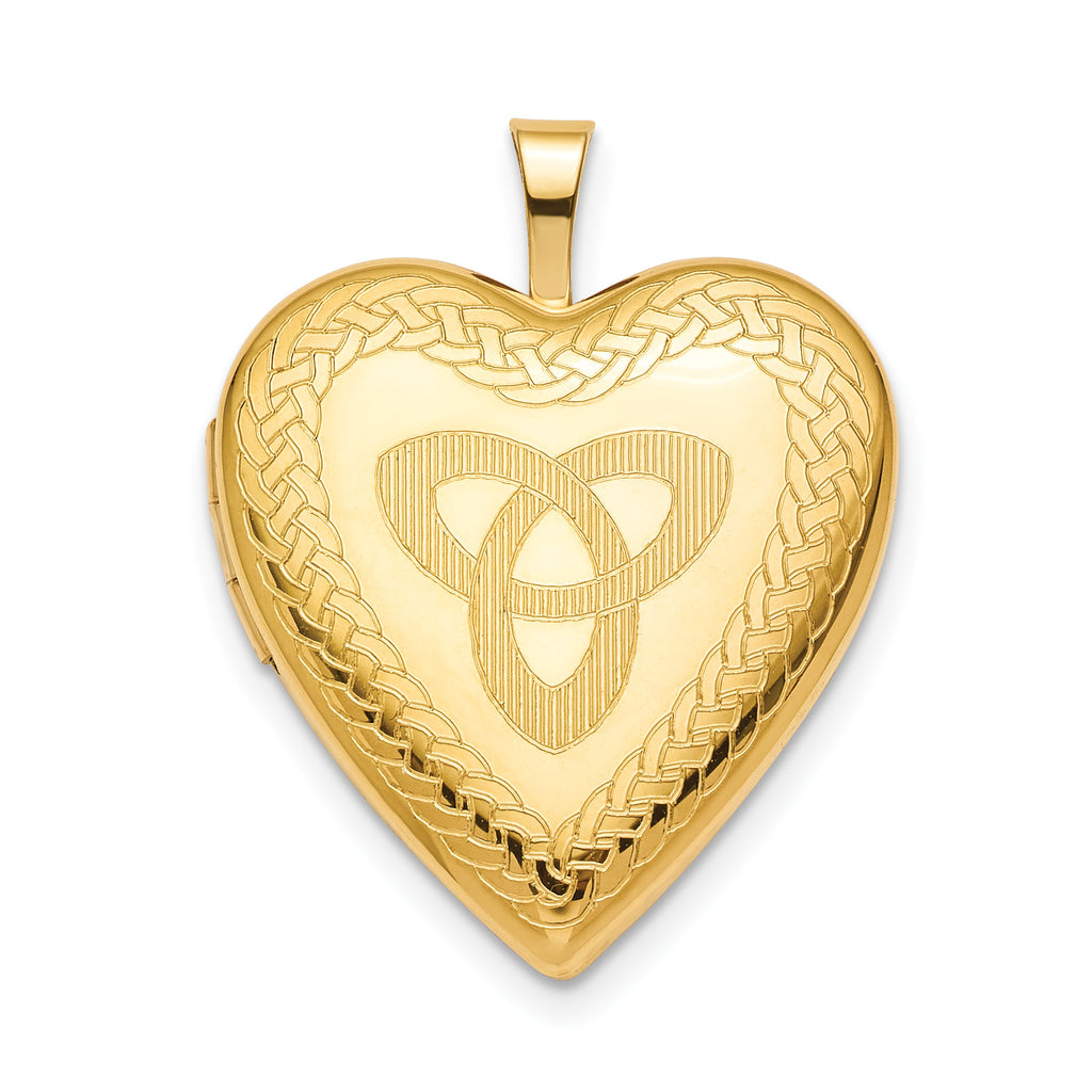 Sterling Silver Gold-plated 20mm Trinity Heart Locket QLS789 - shirin-diamonds