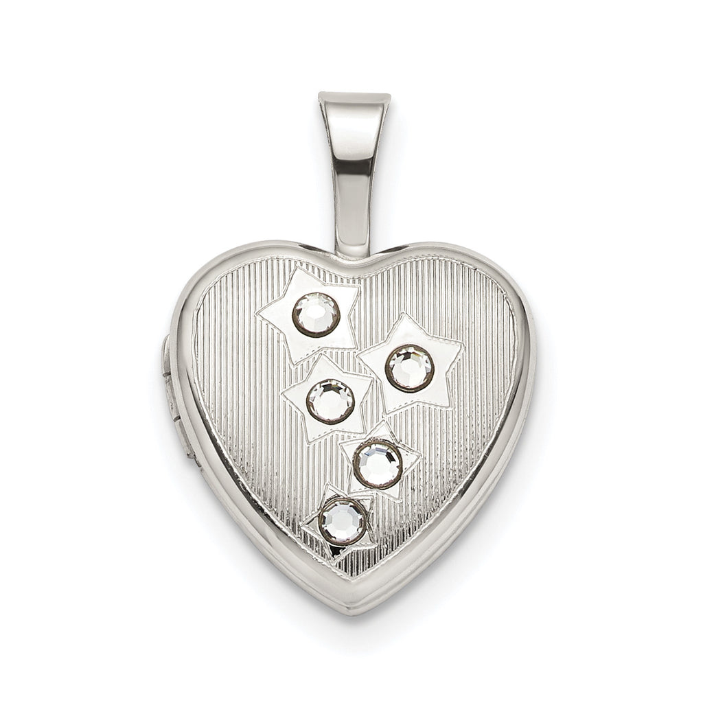 Sterling Silver 12mm Stars CZ Heart Locket QLS793 - shirin-diamonds
