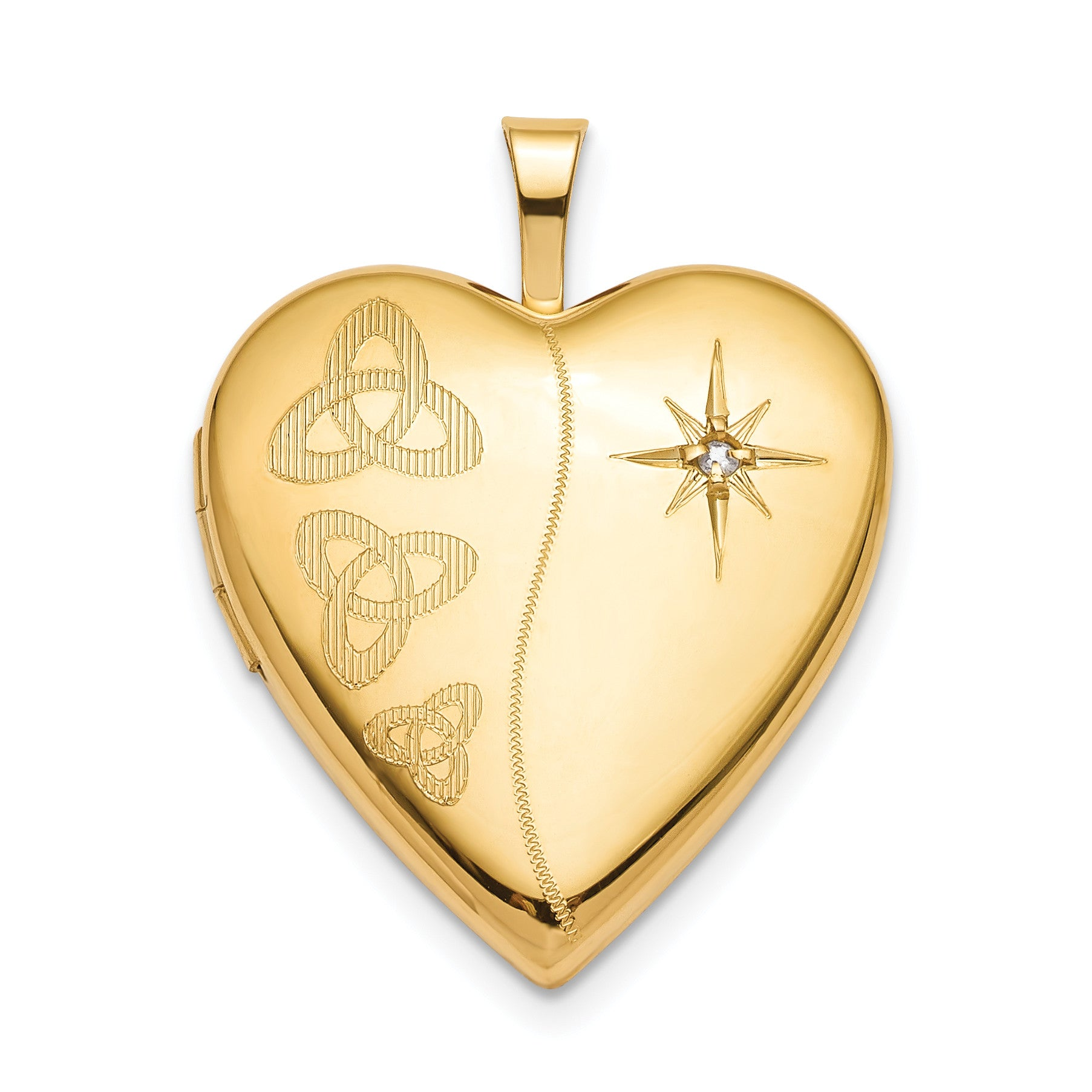 Sterling Silver Gold-plated 20mm Diamond Trinity Heart Locket QLS796 - shirin-diamonds