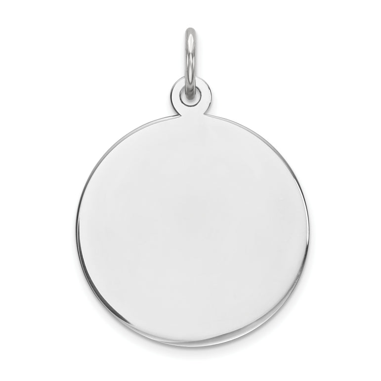 Sterling Silver Engraveable Round Polished Front/Satin Back Disc Charm QM371/35 - shirin-diamonds